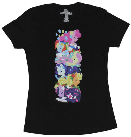 My Little Pony Girls Juniors T-Shirt - Column of Eyes Closed Dreaming Ponies