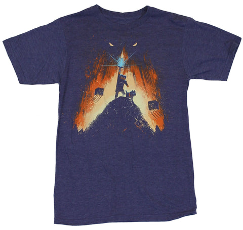 Minecraft Mens T-Shirt  - Steve on Hill With Shining Sword Image