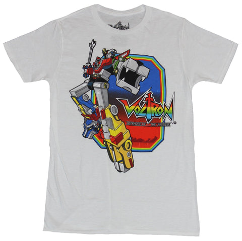 Voltron Mens T-Shirt - Lion Fist Punch Over Rainbow Logo Box