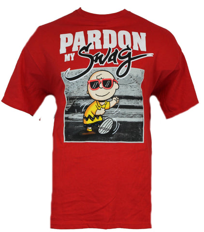 "Peanuts Mens T-Shirt -  ""Pardon My Swag"" Dancing Charlie Brown Image"