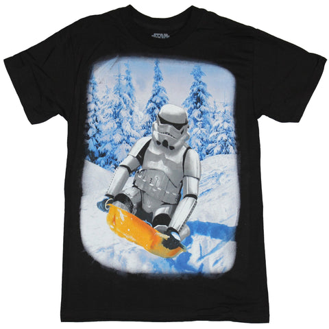 Star Wars Mens T-Shirt - Stormtrooper Sledding in a Christmas Wonderland Image