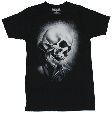 Ghost Rider (Marvel Comics)  Mens T-Shirt - Giant B & W Face Image