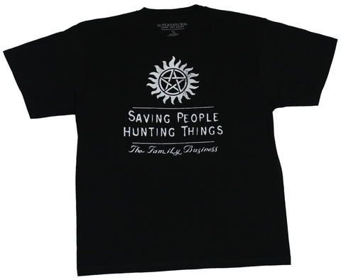 Supernatural Mens T-shirt - Saving People Hunting Things Under Sun Symbol