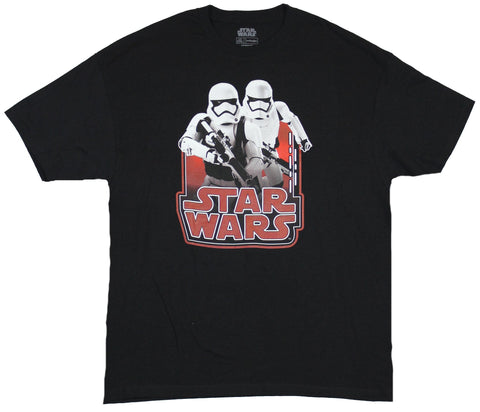 Star Wars Mens T-Shirt - Double Stormtrooper Image Over Logo Image