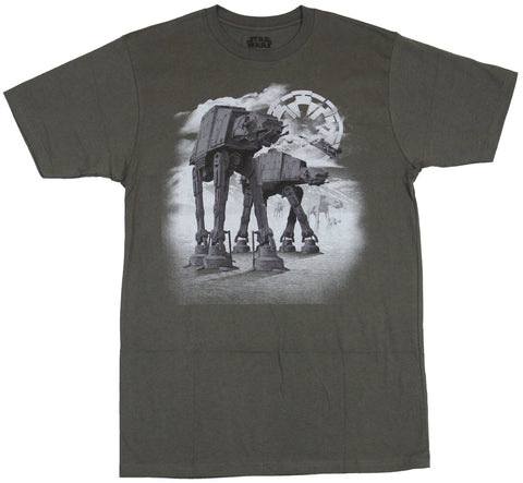 Star Wars Mens T-Shirt - Snowy Realistic Double AT-AT Image