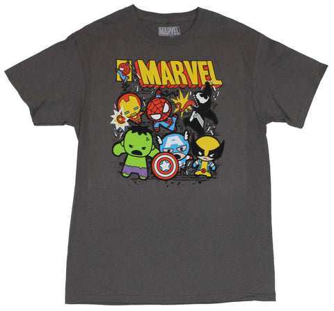 Marvel Comics Mens T-Shirt  - Cutie Spidey Wolverine & More Comic Style Cover