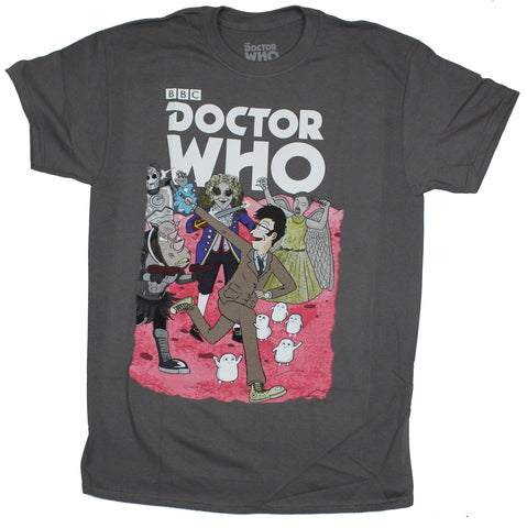 Doctor Who Mens T-Shirt - 10th Doctor Comic Style Monster Mayhem Image
