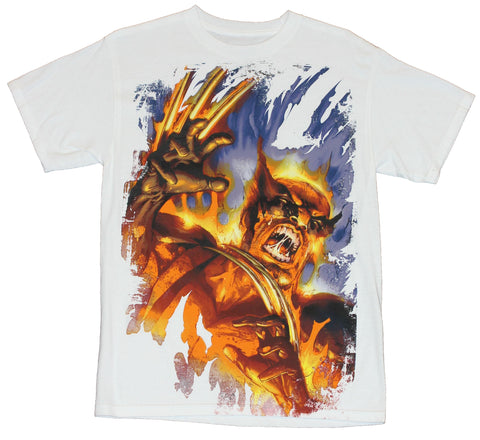 Wolverine (Marvel Comics) Mens T-Shirt -  Vicious Flaming Claw Attack