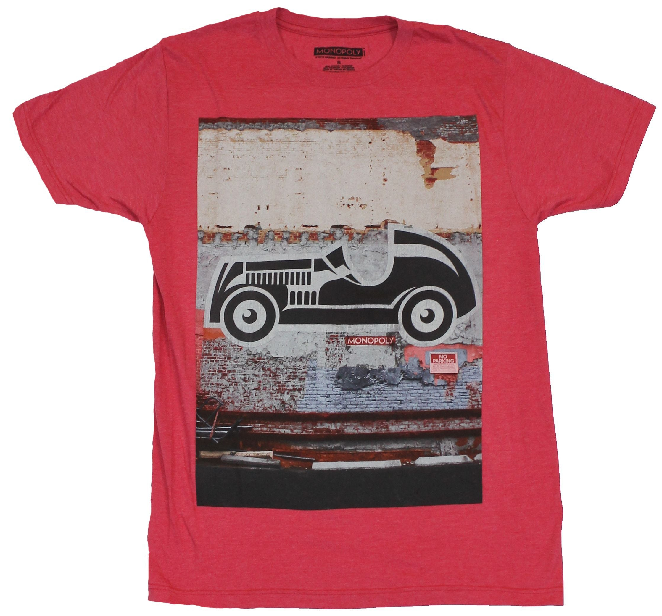 Monopoly Mens T-Shirt  - Car Game Piece Graffiti on Distressed Wall Image