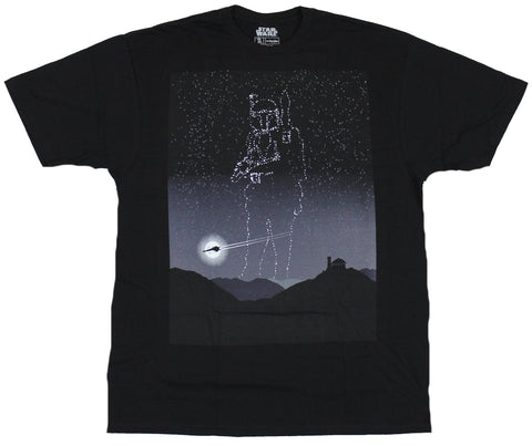 Star Wars  Mens T-Shirt - Starry Space Sky Boba Fett In the Stars Image