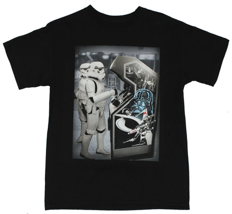 Star Wars Mens T-Shirt - Stormtroopers Playing Classic Arcade Game Image