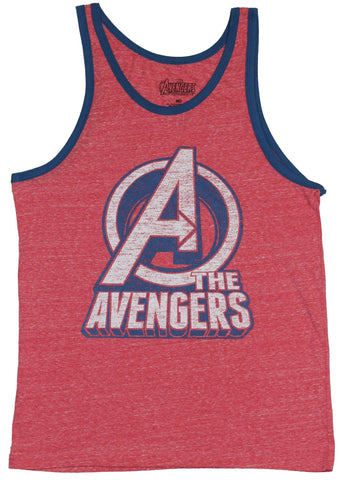 The Avengers Mens Tank Top - Cracked Distressed Circle Logo Over Name