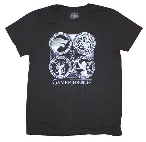 Game of Thrones Mens T-Shirt - Win or Die 4 House Circles Black And White Image