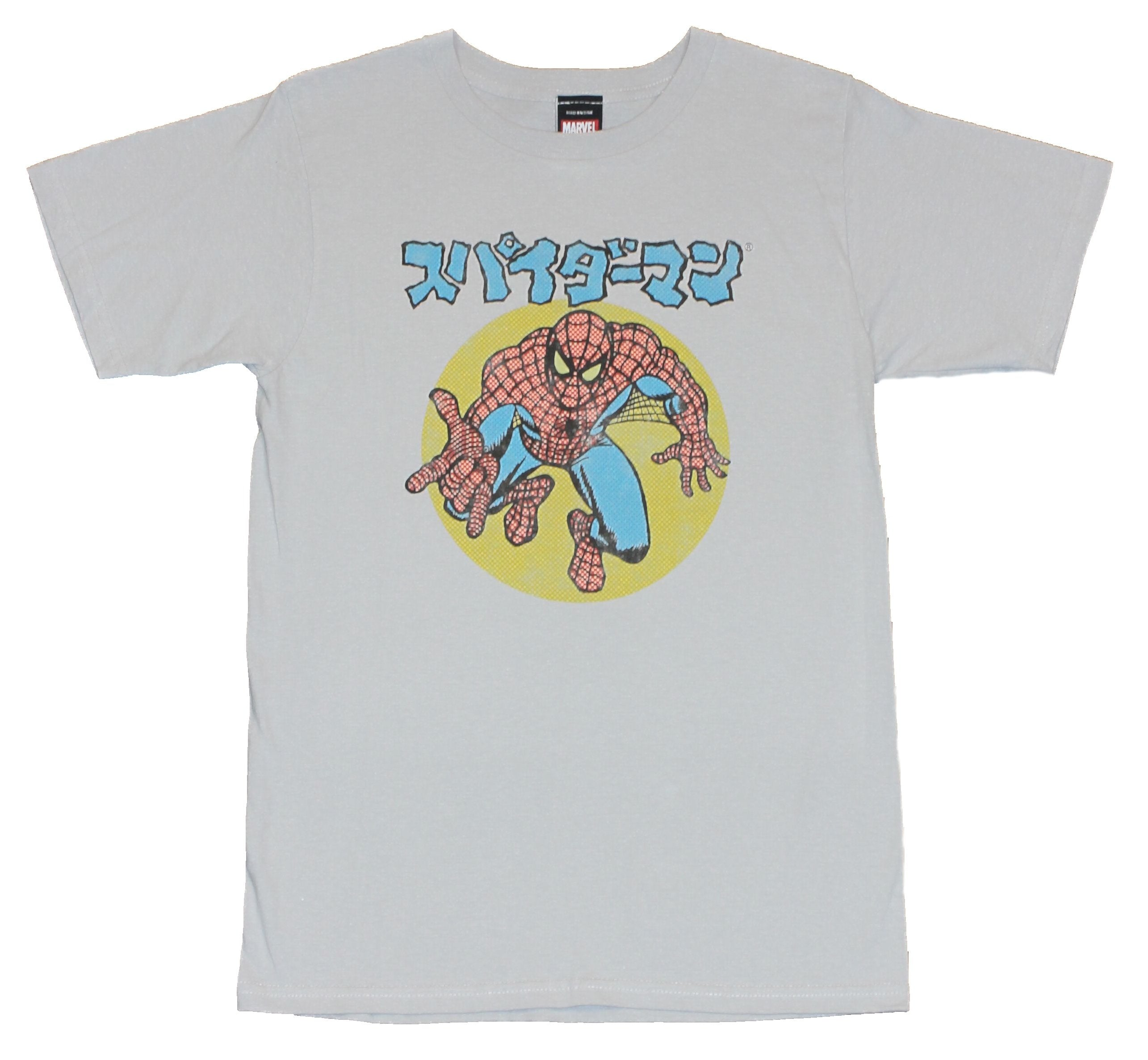 Spider-Man  (Marvel Comics) Mens T-Shirt - Newsprint Japaneese Logo Image