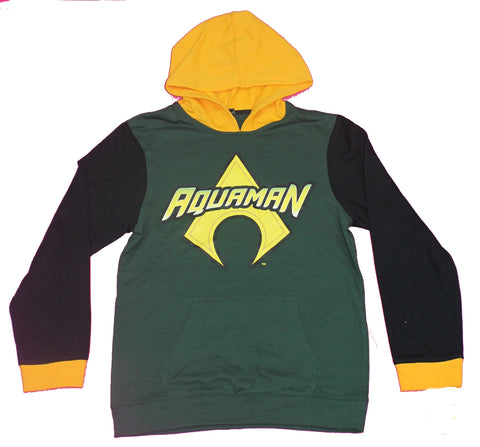 Aquaman Boys Pull-Over Hoodie - Logo with Yellow Hood