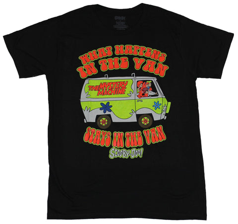 Scooby Doo Mens T-Shirt - What Happens In The Van Black Light Style Image
