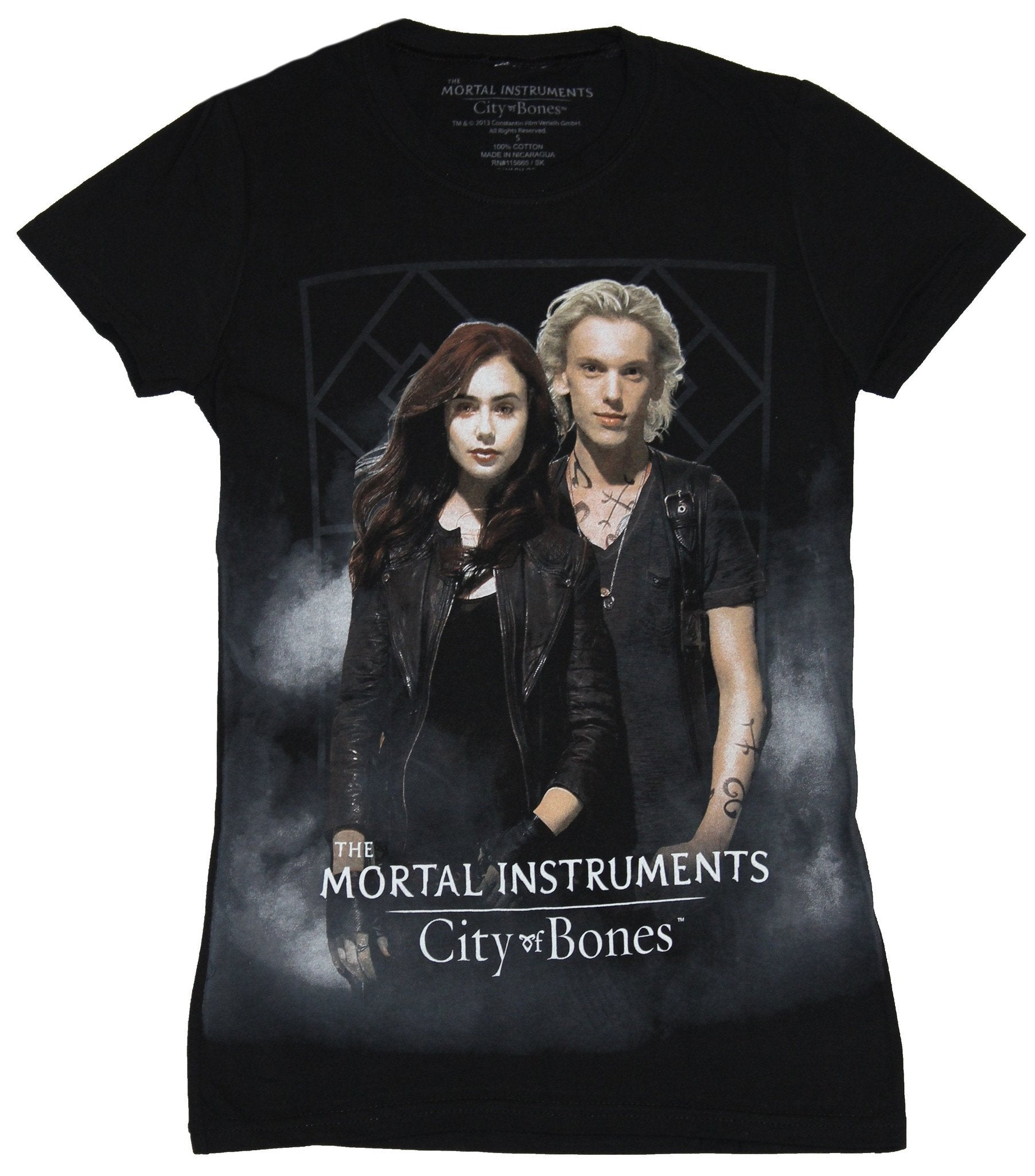 Mortal Instruments Girls Juniors T-Shirt - Guy and Girl in Cloudy Background