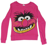 The Muppets Girls Juniors Pull Over Light Sweatshirt -  Giant Animal Face Image
