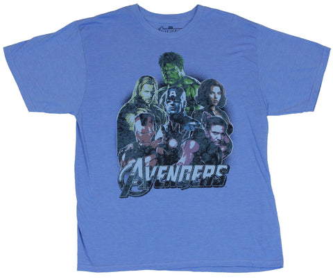 The Avengers (Marvel Comics) Mens T-Shirt - Faded Movie Image Portrait of Six