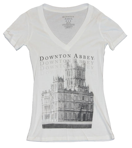 Downton Abbey Girls Juniors V-Neck T-Shirt - Classic Grayscale Downton Image