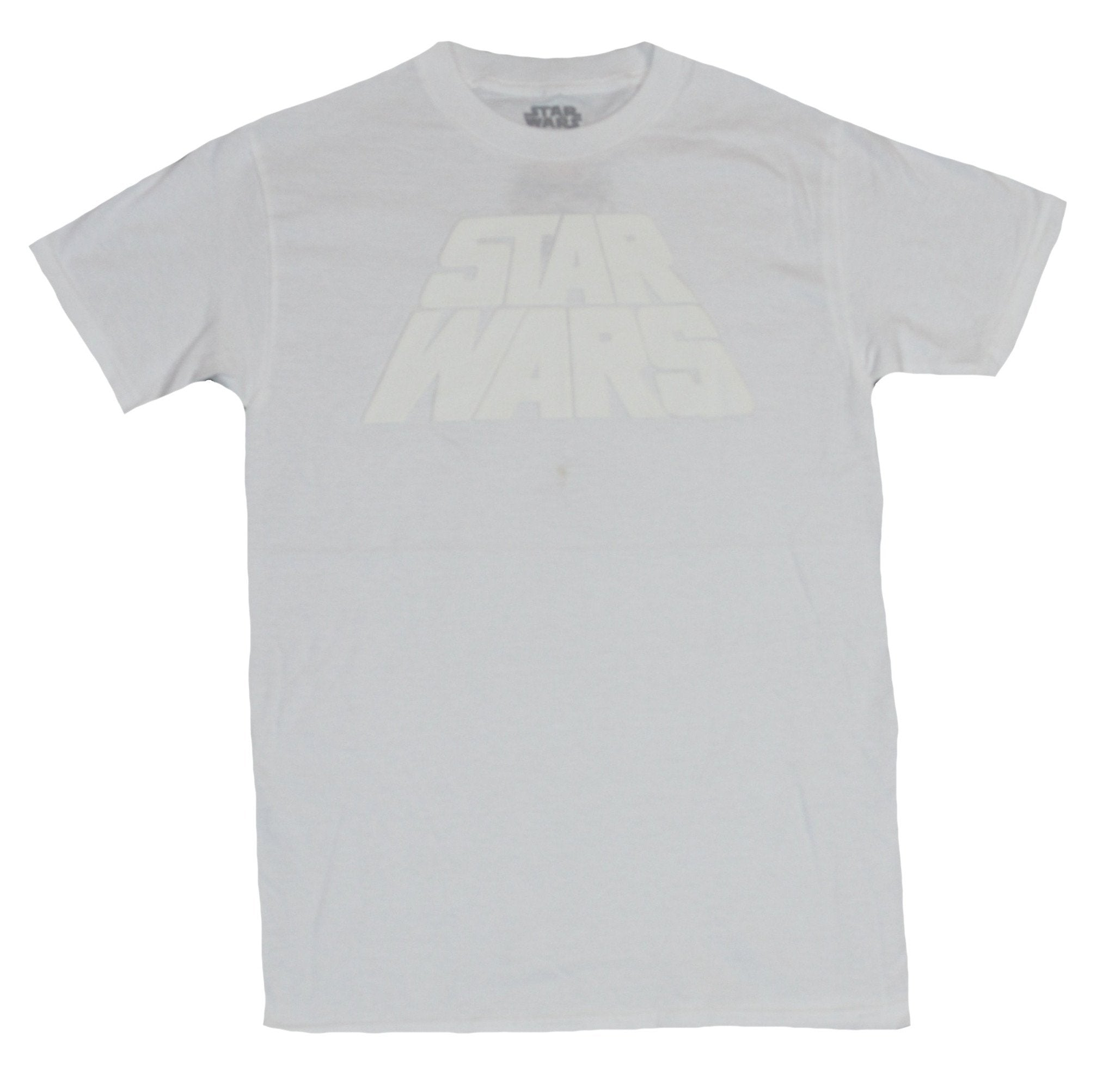 Star Wars Mens T-Shirt - White Print Classic Name Word Crawl Logo