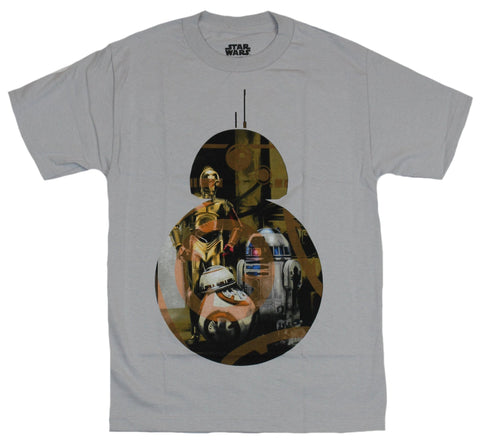 Star Wars Mens T-Shirt - BB-8 R2-D2 C-3PO Image inside of a BB-8 Silhouette