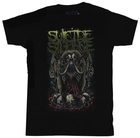 Suicide Silence Mens T-Shirt - Creepy Wormy Elephant Monster Atop Skulls Image
