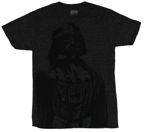 Star Wars Mens T-Shirt - Line Drawing Black Vader Image