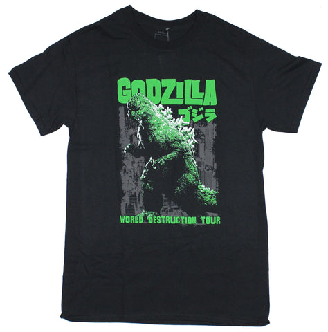 Godzilla Mens T-Shirt - Movie Style World Destruction Tour image