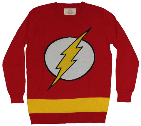 Flash (DC Comics) Mens Knit Sweater - Yellow Bolt in White Circle Logo Image