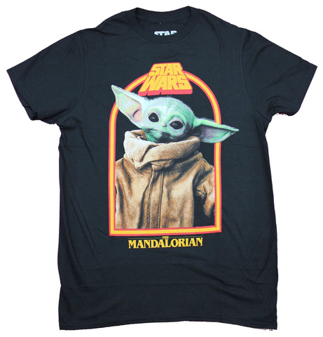 Star Wars The Mandalorian Mens T-Shirt  - Grogu The Child Retro Style Framed Photo