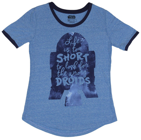 Star Wars Girls Juniors T-Shirt - Too Short to Look for the Wrong Droids R2-D2