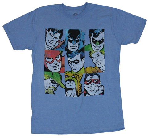 Justice League Mens T-Shirt - Distressed 9 Box Simple Colored Heroes