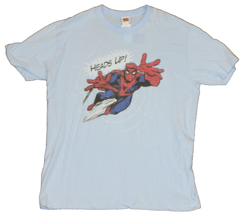 "Spider-Man (Marvel Comics) Mens T-Shirt - ""Heads Up"" Jumping Spidey Image"