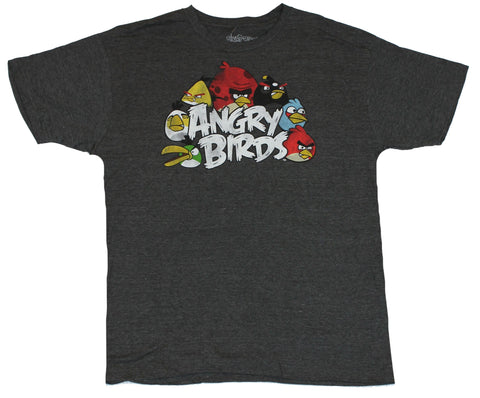 Angry Birds (Hit Mobile App) Mens T-Shirt  - Classic Birds Surrounding Logo on