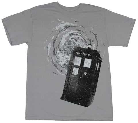 Doctor Who Mens T-Shirt - Swirling Prtal Above Tilted Call Box Tardis Image