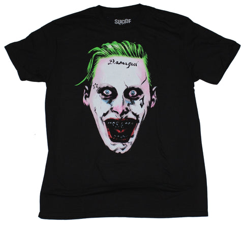 Suicide Squad Mens T-Shirt - Giant Damaged Joker Face Image