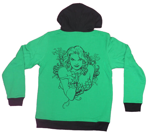 Poison Ivy Girls Juniors Pull-Over Hoodie - Back Side Portrait Lapel Name