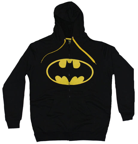 Batman (DC Comics)  Mens Hoodie Sweatshirt - Oval Yellow Logo & Drawstrings