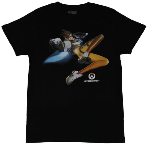 Overwatch Mens T-Shirt - The Cavaly's Here Diving Tracer Image