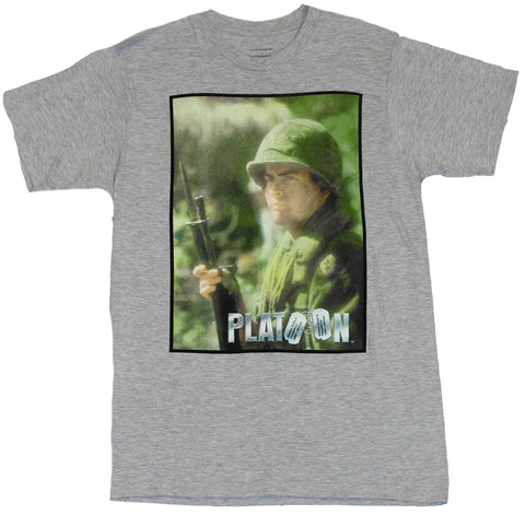 Platoon (Movie by Oliver Stone) Mens T-Shirt  - Charlie Sheen posed with Gun o