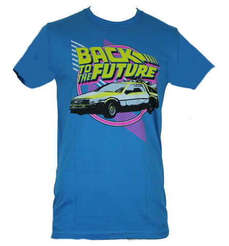 Back To Future  Mens T-Shirt - Neon Delorean Line Design Image