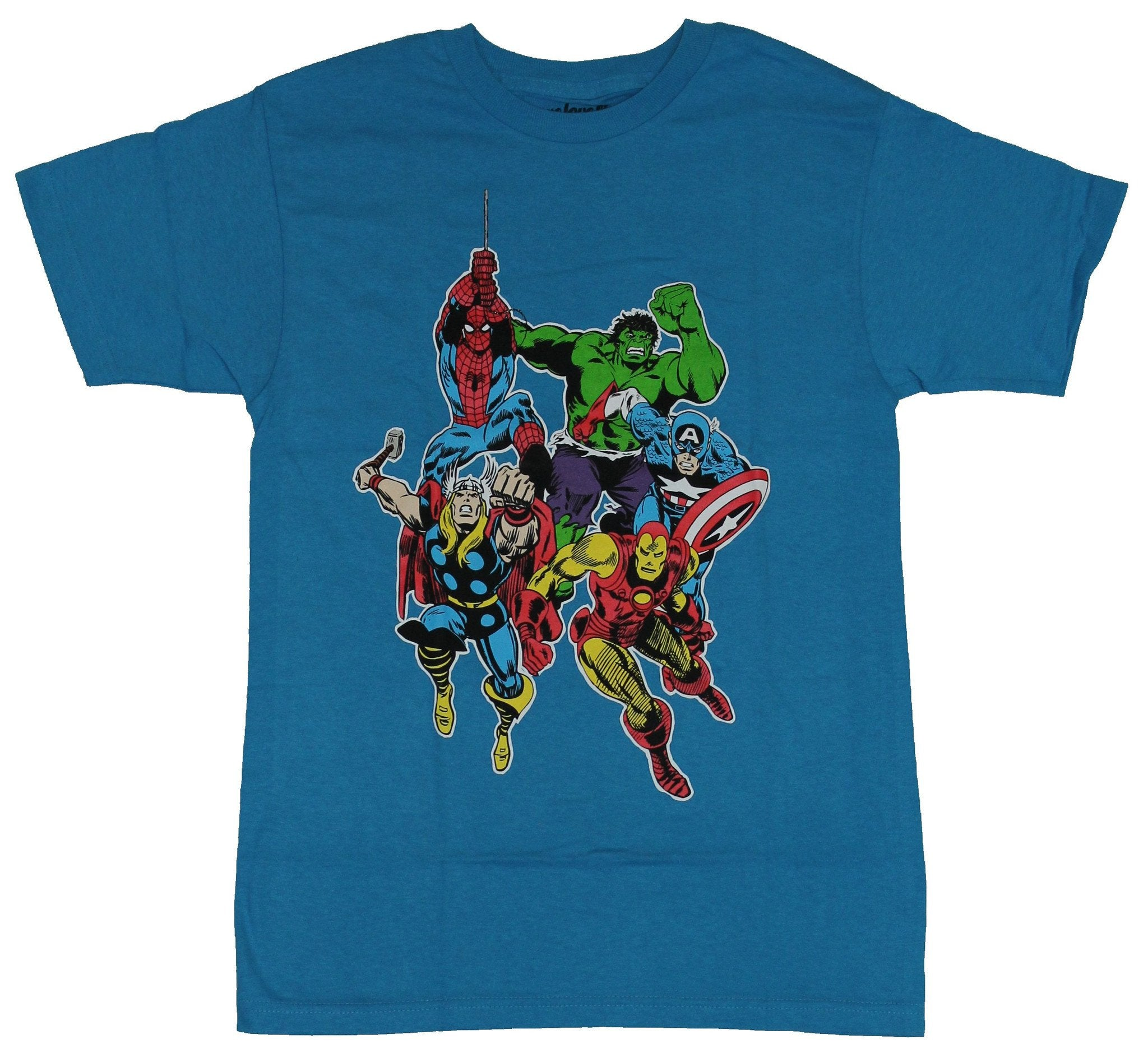 Marvel Comics Mens T-Shirt - Spider-Man & the Avengers Rushing In Image