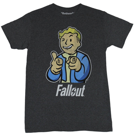 Fallout  Mens T-Shirt -  Distressed Pointing Thumbd up Pip Boy Vault Image