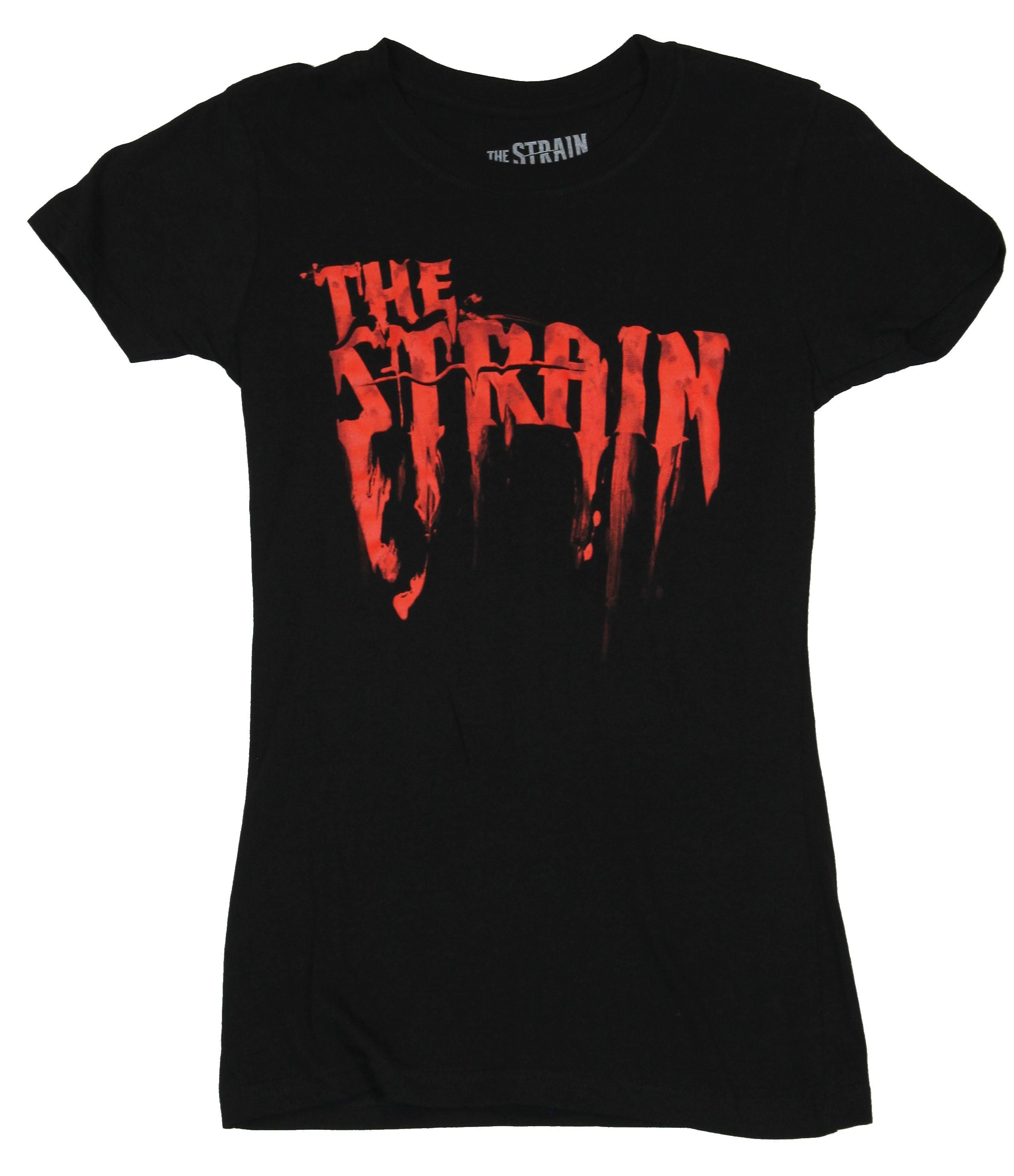 The Strain Girls Juniors T-Shirt - Dripping Red Title Screen Logo Image