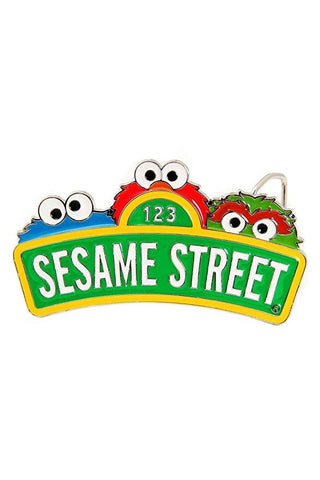 Sesame Street Sign And Face Belt Buckle [Apparel]