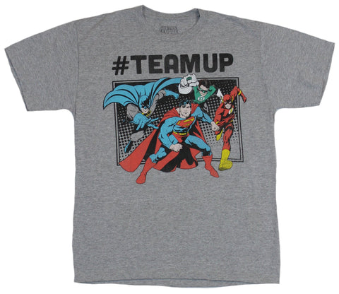 Justice League (DC Comics) Mens T-Shirt - # Teamup Flash Batman Superman Charge