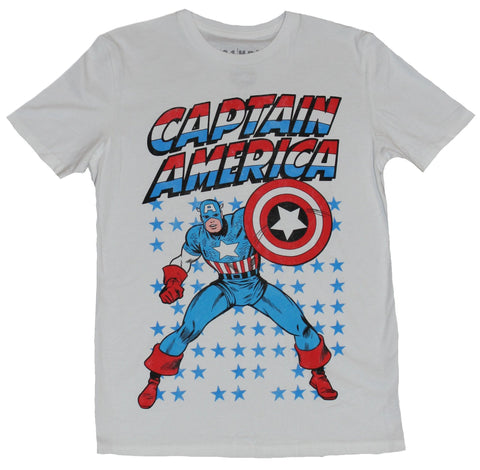 Captain America (Marvel Comics) Mens T-Shirt - Shield Up Under Name Stars Behind
