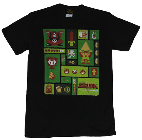 Legend of Zelda Nintendo Mens T-Shirt - Original 8-Bit Art Collection Image
