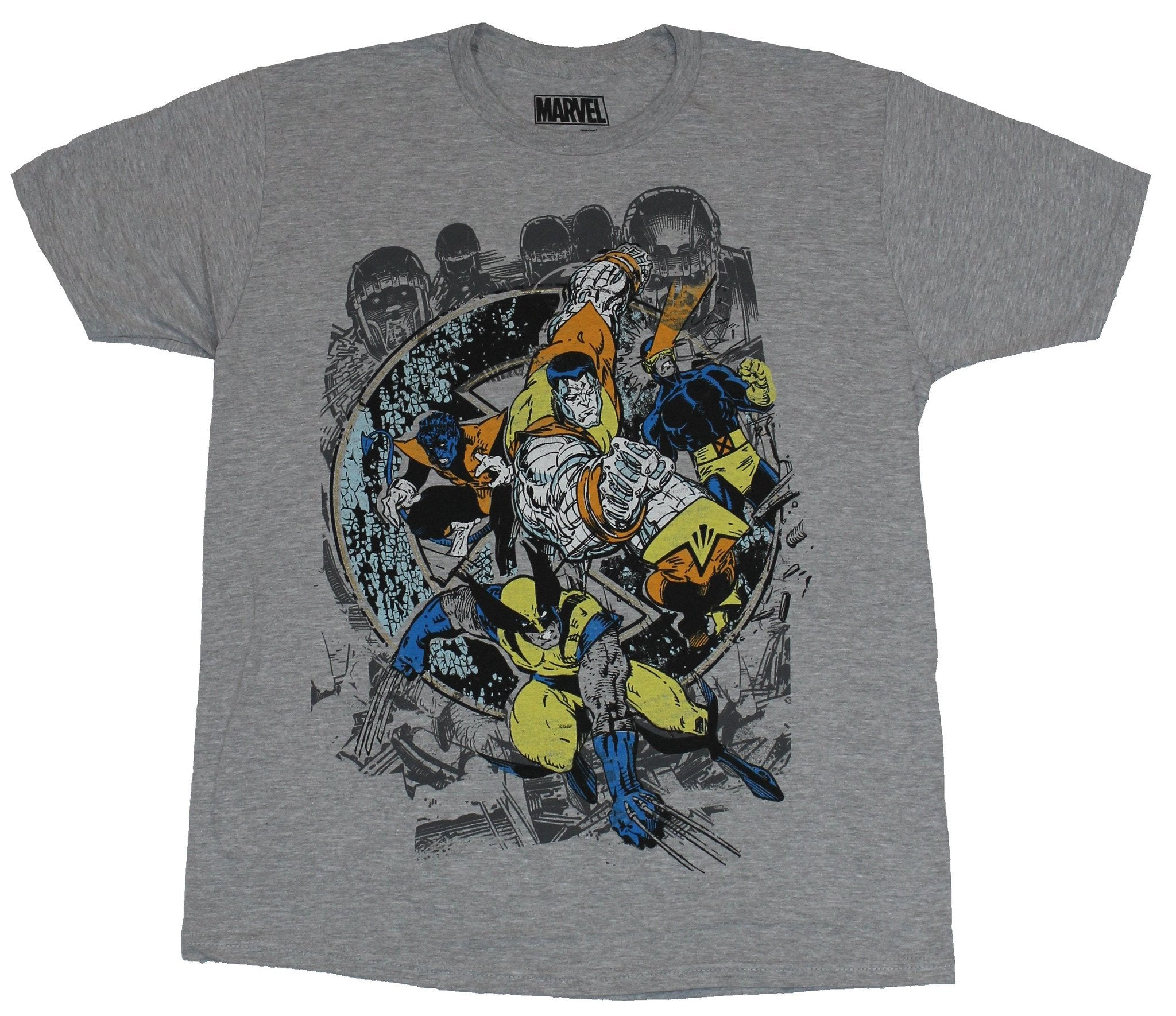 X-Men (Marvel Comics) Mens T-Shirt - Wolverine Collossus Sentinl Strike Image